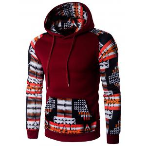 Patchwork Design Geometric Print Hoodie - Wine Red - M