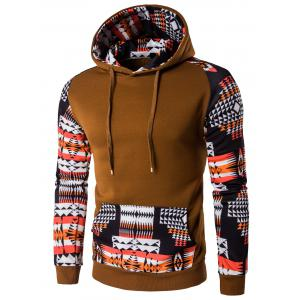 Patchwork Design Geometric Print Brown Hoodie
