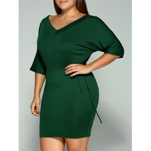 Plus Size Dolman Sleeve Drawstring Waist Bandage Mini Dress - Olive Green - L