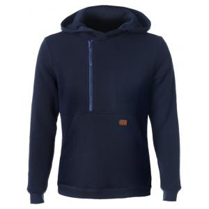 Side Zip Up Pocket Front Long Sleeve Hoodie - Cadetblue - M