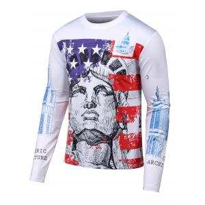3D Building Print Round Neck Long Sleeves T-Shirt