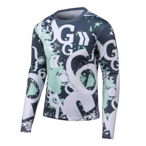 Letter Print Long Sleeves Round Neck T-Shirt