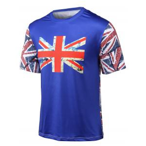 Flag Printed Round Neck Short Sleeve T-Shirt