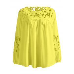 Plus Size Lace Crochet Spliced Blouse - Yellow - Xl