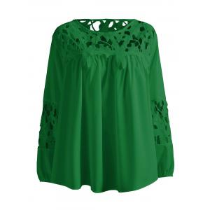 Plus Size Lace Crochet Spliced Blouse - Green - 4xl
