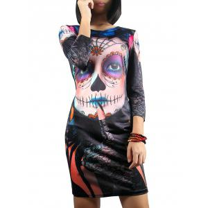3/4 Sleeve Halloween Ghost Print Dress - Colormix - S