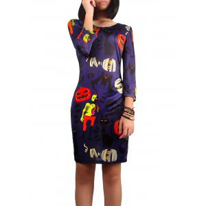 Halloween Ghost Print Dress - Purple - L