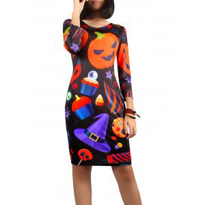 Halloween Jack-O-Lantern Print Dress - Black - S