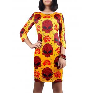 Halloween Skull Print 3/4 Sleeve Dress - Deep Yellow - Xl