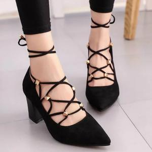 Tie Up Cross Straps Rivets Pumps - Black - 40
