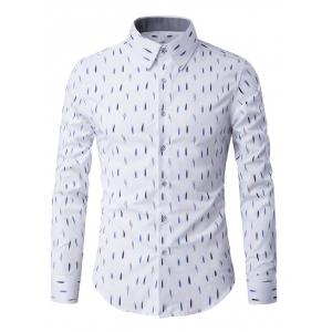 Long Sleeve Anti-Wrinkle Design Printed Shirt - White - L