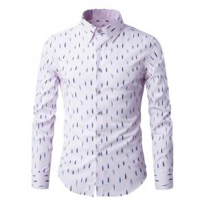 Long Sleeve Anti-Wrinkle Design Printed Shirt - Pink - M
