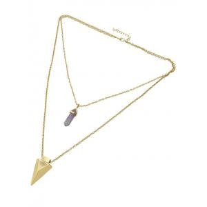 Layered Faux Gem Triangle Pendant Necklace