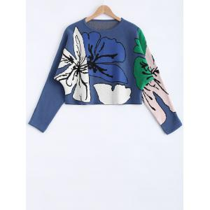 Flower Pattern Long Sleeves Sweater