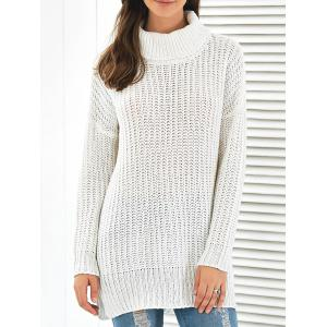 Side Slit Turtleneck Long Sweater