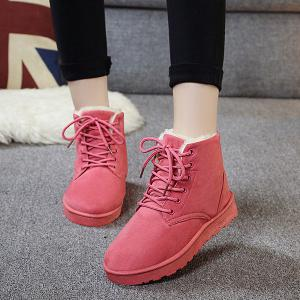 Suede Lace Up Ankle Boots - Pink - 37