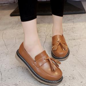 Vintage Round Toe Tassel Flat Shoes - Brown - 37