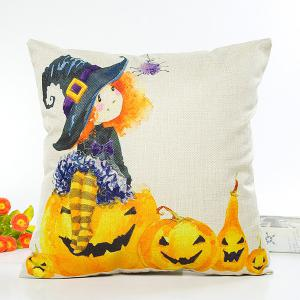 Halloween Witch Pumpkin Design Cartoon Cushion Pillow Case - Beige - 57*90cm