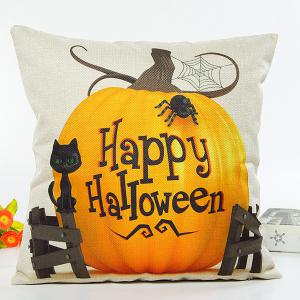 Happy Halloween Letter Pumpkin Cat Design Cushion Pillow Case - Beige - 31