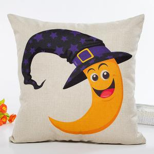 Halloween Moon Witch Hat Pattern Sofa Cushion Pillow Case