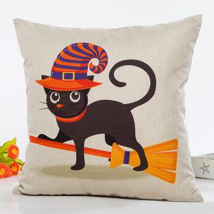Halloween Cat Witch Cartoon Sofa Cushion Pillow Case