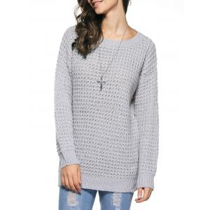 Long Sleeve Loose Sweater - Gray - One Size