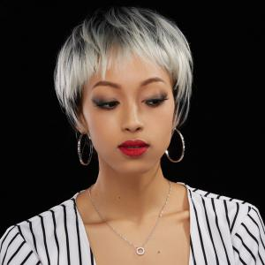 Neat Bang Short Straight Ombre Color Human Hair Wig - Colormix