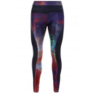 Starry Sky Print 3D Skinny Yoga Leggings - Colormix - One Size