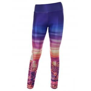 City Digital Print Skinny Gym Leggings - Colormix - One Size