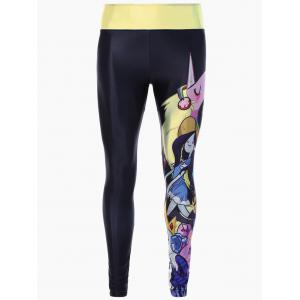 Skinny Cartoon Adventure Time Print Gym Leggings - Black - One Size