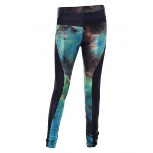 Starry Sky Print 3D Skinny Sporty Leggings - Black - One Size