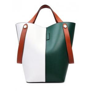 PU Leather Color Block Tote
