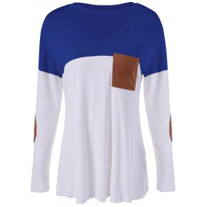 Color Block Single Pocket T-Shirt - Blue - S