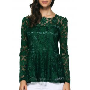Pullover Lace Peplum Blouse