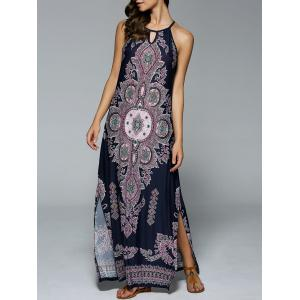 Bohemian Side Slit Tribal Cut Out Maxi Dress - Purplish Blue - Xl