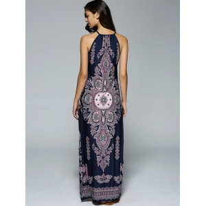 Bohemian Side Slit Tribal Maxi Dress - PURPLISH BLUE L