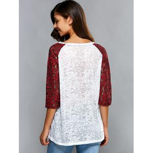 3/4 Sleeve Splicing Hollow Out T-Shirt -