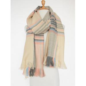 Different Stripes Pattern Fringed Shawl Scarf - Pink - W24 Inch * L71 Inch