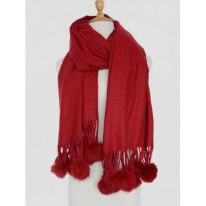 Small Fuzzy Ball Pendant Solid Shawl Scarf - Wine Red