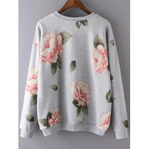 Round Neck Long Sleeve Floral Print Casual Sweatshirt - GRAY L