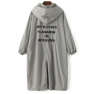 Long Sleeve Hooded Letter Print Loose Trench Coat -