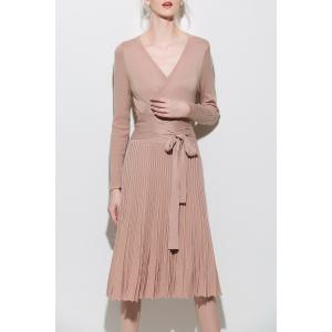 Wrap Long Sleeve A-Line Jumper Dress - Apricot - L
