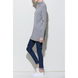 Long Sleeve Cut Out Knitting Dress - GRAY ONE SIZE