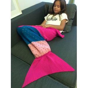 Super Soft Color Block Crochet Knitting Mermaid Tail Blanket For Kids - COLORMIX S