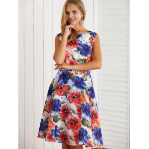 Retro Sleeveless Floral Printed Flare Dress -