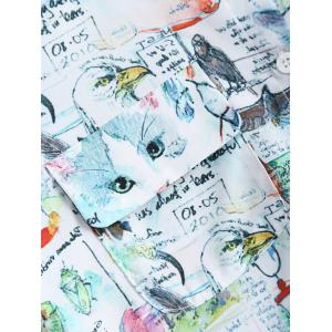 Hlaf Sleeves Kitty and Letter Print Shirt -