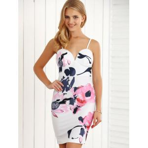 Adjustable Strap Open Back Tank Bodycon Dress - WHITE M