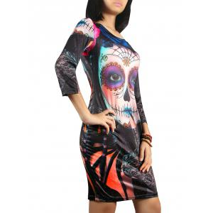 3/4 Sleeve Halloween Ghost Print Dress - COLORMIX XL