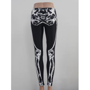 Skeleton Print Elastic Hallowmas Leggings -