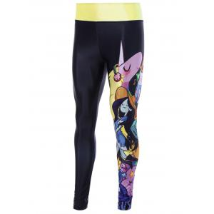 Skinny Cartoon Adventure Time Print Gym Leggings - BLACK ONE SIZE